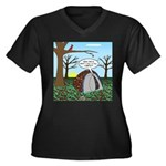 Fall Campout Women's Plus Size V-Neck Dark T-Shirt