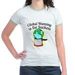 Global Warming is for Suckers Jr. Ringer T-Shirt