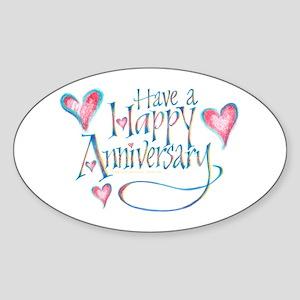 Happy Anniversary Sticker (Oval)