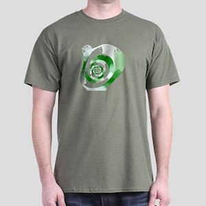 Green Swirl Fractal Black T-Shirt