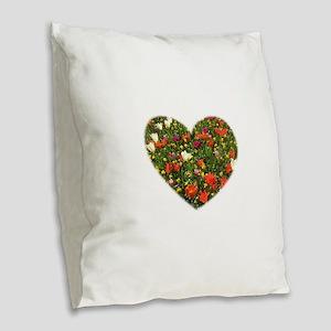 Holland Spring Flowers Burlap Throw Pillow