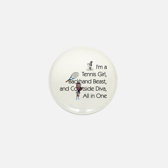 Tennis Court Diva Mini Button