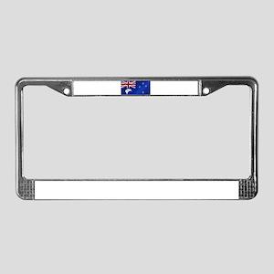 New Zealand Flag With Kiwi Glo License Plate Frame