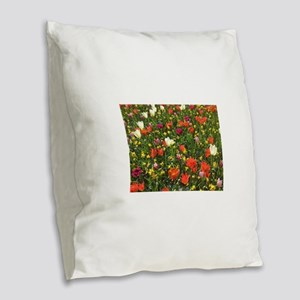 Mixed Spring Flowers Holland N Burlap Throw Pillow