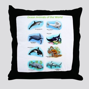 Ocean Animals of the World Throw Pillow