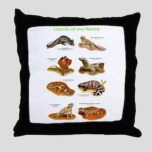 Lizards of the World Throw Pillow