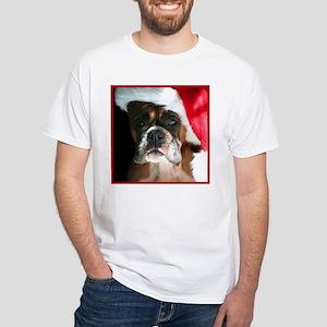 Christmas Boxer Dog White T-Shirt