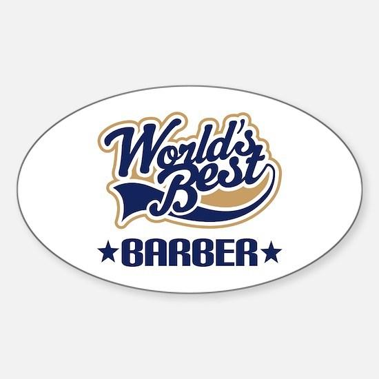 Worlds Best Barber Sticker (Oval)
