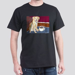 Golden Coffee Dog Black T-Shirt