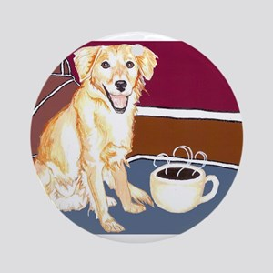 Golden Coffee Dog Ornament (Round)