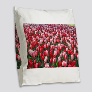 Red & Pink Tulips Holland Neth Burlap Throw Pillow