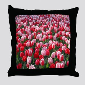Red & Pink Tulips Holland Netherlands Throw Pillow