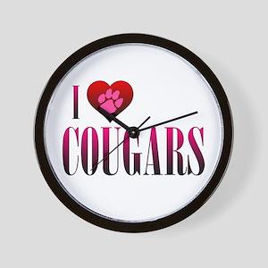 I Heart Cougars Wall Clock