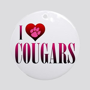 I Heart Cougars Round Ornament