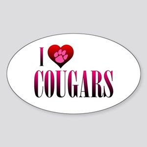 I Heart Cougars Sticker (Oval)