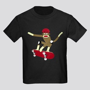 Sock Monkey Skateboarder Kids Dark T-Shirt
