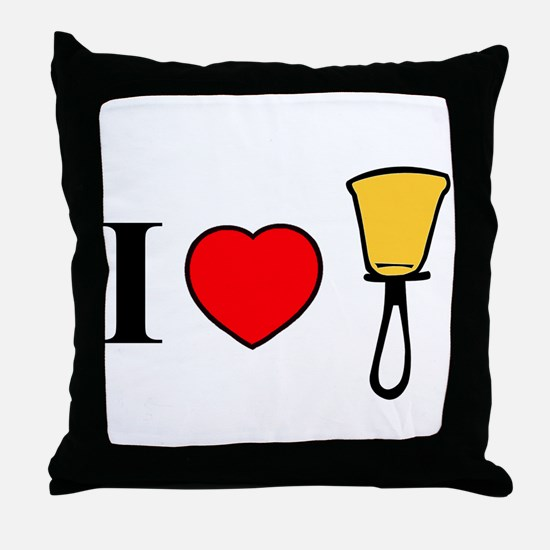 I Heart Bells Throw Pillow