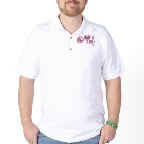 Peace Love Cure (Pink Ribbon) Golf Shirt