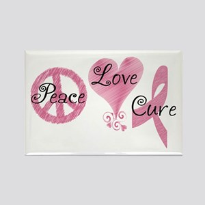 Peace Love Cure (Pink Ribbon) Rectangle Magnet