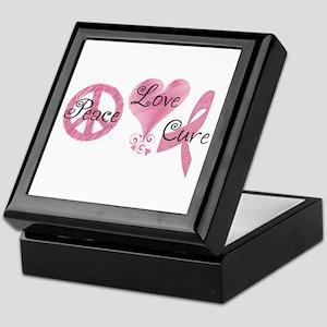 Peace Love Cure (Pink Ribbon) Keepsake Box