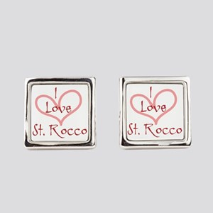 I love St. Rocco Heart Design Square Cufflinks