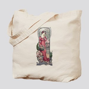 Vintage Alfons Mucha Girl With Flowers Tote Bag