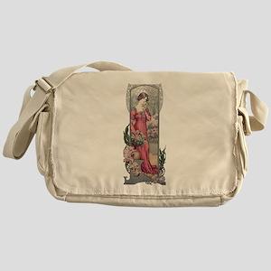 Vintage Alfons Mucha Girl With Flowe Messenger Bag