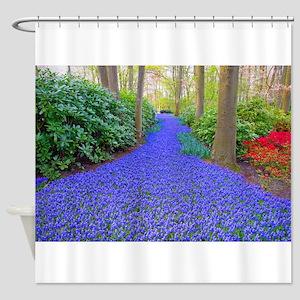 Grape Hyacinth Path Shower Curtain