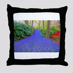 Grape Hyacinth Path Throw Pillow