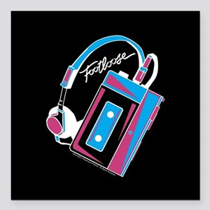 "Footloose Cassette Square Car Magnet 3"" x 3"""