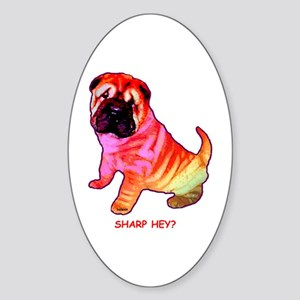 Sharpei - Sharp Hey in Rainbow colors Sticker (Ova