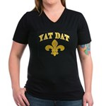 Cajun French Who Dat Women's V-Neck Dark T-Shirt