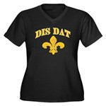 Cajun French Who Dat Women's Plus Size V-Neck Dark