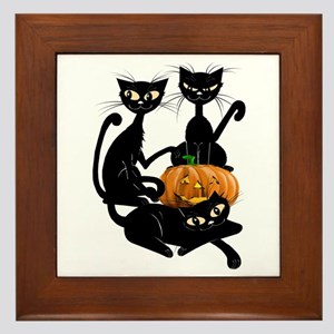 Three Black Kitties and a Pum Framed Tile