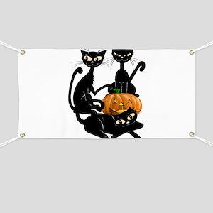 Three Black Kitties and a Pum Banner