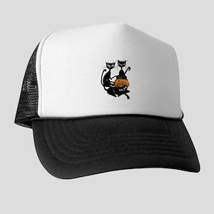 Three Black Kitties and a Pum Trucker Hat