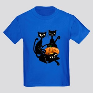Three Black Kitties and a Pum Kids Dark T-Shirt