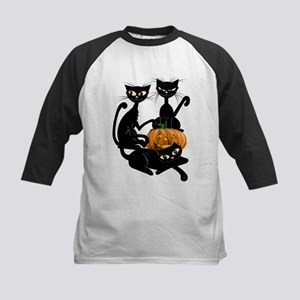 Three Black Kitties and a Pum Kids Baseball Jersey