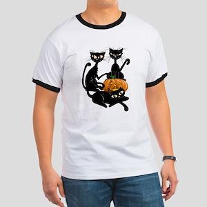 Three Black Kitties and a Pum Ringer T