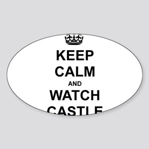 """""""Keep Calm And Watch Castle"""" Sticker (Oval)"""