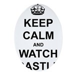 """Keep Calm And Watch Castle"" Ornament (Oval)"