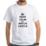 """Keep Calm And Watch Castle"" White T-Shirt"