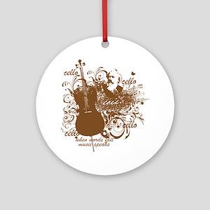 Music Speaks Cello Ornament (Round)