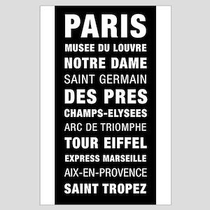 Paris Bus Roll Destination Large Poster