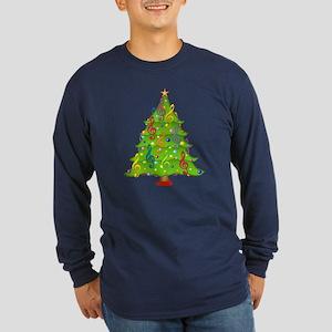 Treble Clef Christmas Long Sleeve Dark T-Shirt