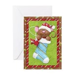 Mouse in Stocking Greeting Card