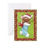 Mouse in Stocking Greeting Cards (Pk of 10)