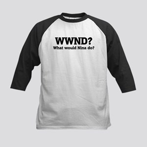 What would Nina do? Kids Baseball Jersey