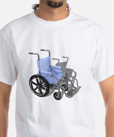 Wheelchair with Blue Seat White T-Shirt
