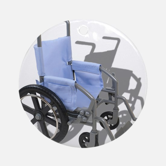 Wheelchair with Blue Seat Ornament (Round)